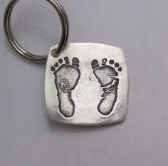 For Father's Day - For Daddy Silver Footprints or Handprints Made from your child's actual prints into a Silver Keychain