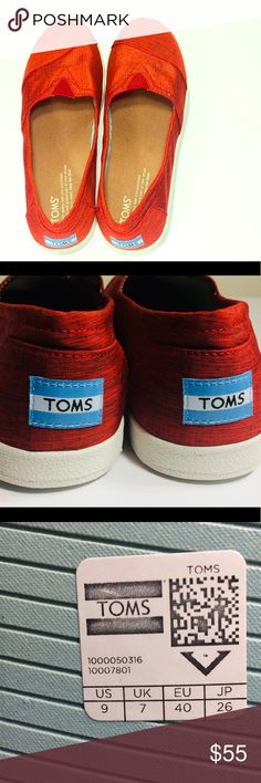 Size 9 toms (women) Red size 9 toms Where never used Smoke free pet free home They where sold back in 2016, but are no longer available. Toms Shoes Espadrilles