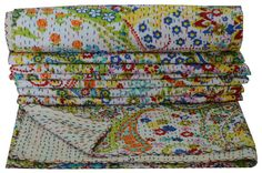 Queen Size White Paisley Kantha Quilt Bed cover Indian by lavinas