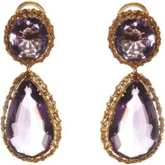 Olivia Collings Antique Jewelry Amethyst Double Drop Earrings ($12,775) ❤ liked on Polyvore