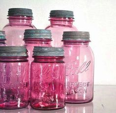 What's better than a mason jar.a PINK mason jar! Pink Mason Jars, Mason Jar Gifts, Bottles And Jars, Glass Jars, Gift Jars, Sand Glass, Liquor Bottles, Water Bottles, Pink Love