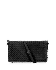 BOTTEGA VENETA SMALL INTRECCIATO FLAP CLUTCH BAG W/STRAP, BLACK. #bottegaveneta #bags #shoulder bags #clutch #lining #suede #hand bags #