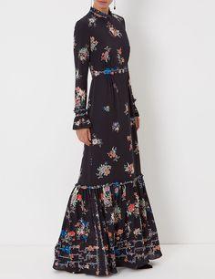 Black Floral Border Sinead Gown | Vilshenko | Avenue32 loving this silhouette for Fall.