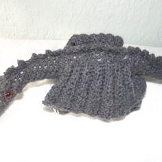 Doudou dragon anthracite crocheté mains