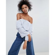 Parisian Stripe Double Layer Off The Shoulder Top ($24) ❤ liked on Polyvore featuring tops, blue, floral tops, fringe crop tops, floral crop top, striped off-the-shoulder tops and floral off the shoulder top