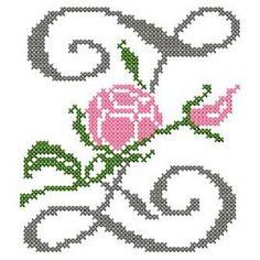 motif-Point de croix-Abc Rose anglaise-Z