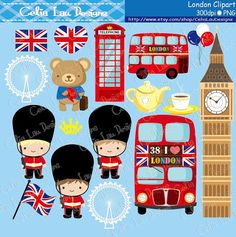 London clipart , London England British Clip art , Great Britian United Kingdom clipart / IN