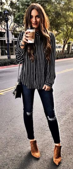 stripes + rips business casual