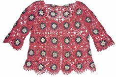 chaleco tejido a crochet en hilos Textil Amazonas en colores rosa viejo, gris y crudo, talla M