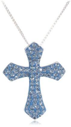 "Sterling Silver Denim Swarovski Elements Cross Pendant Necklace, 18"" Amazon Collection-$39.95 http://www.amazon.com"