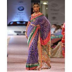 Navy Blue Sari with Embellished Pallu