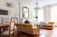 i hate to tumble so many pics of 1 house, but it's too fabulous. Alison Cayne's Stunning West Village Townhouse Living Room Kitchen, Home Living Room, Living Room Designs, Living Room Decor, Dining Room, Formal Living Rooms, Living Spaces, Living Area, New York Townhouse