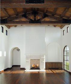 beams, window, fireplace arch