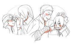 Sarada and Sasuke. Naruto and Boruto