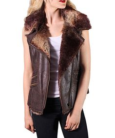 Look at this Coffee Faux Fur Zip-Up Vest on #zulily today!