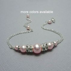 Maid of Honor Gift, Light Pink Pearl Bracelet, Bridesmaid Bracelet, Swarovski Light Pink Pearl Chain Bracelet, Bridal Bracelet Gift for Her Swarovski Jewelry, Pearl Jewelry, Beaded Jewelry, Jewelery, Beaded Bracelets, Pearl Rings, Pearl Necklaces, Jewelry Necklaces, Ankle Bracelets