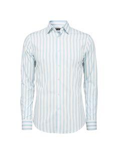 Men's shirt in cotton poplin with bold stripe. Forward point collar. Slim fit.