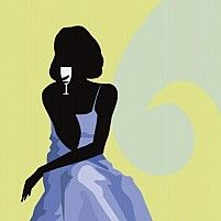 Illustration of silhouette of sexy lady having drinks