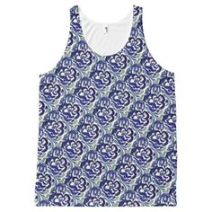 Blue Watercolor Floral Pattern Tank Top All-Over Print Tank Top Tank Tops
