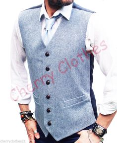 MENS WOOL BLEND TWEED LIGHT BLUE WAISTCOAT VEST - ALL SIZES S M L XL XXL | eBay