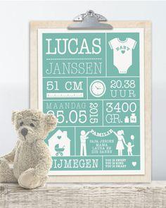 Persoonlijk en origineel kraamcadeau voor de babykamer: gepersonaliseerde baby geboorteposter met gewicht, lengte, naam en geboorteplaats printcandy.nl.