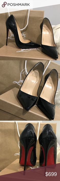 CHRISTIAN LOUBOUTIN SO KATE 120 MM - SIZE 39 Just purchased these from the west village location in NYC on 10/23/17 . Wore them ONCE ( city cobble stone streets ) . Otherwise in perfect condition . Size 39. Runs small. Black patent leather. Shopping bag, box, dust bag, heel replacement, and ribbon included !!!!! Christian Louboutin Shoes Heels