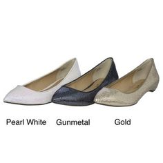 @Overstock - Add sparkle to any outfit when you wear these glittery pointy-toed flats. Available in gold, pearl white, and gunmetal, these dazzling shoes pair perfectly with slacks, skirts, or shorts and add shimmery appeal to whatever you may be wearing.http://www.overstock.com/Clothing-Shoes/Report-Womens-Gonzalez2-Sparkling-Pointed-Toe-Flats/6511233/product.html?CID=214117 $22.99
