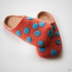 Felted polka dot blue and orange slippers
