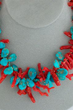 Cowgirl Dreams: A double-strand necklace of contrasting sky blue Sleeping Beauty turquoise & red coral frangia, both interspersed with gold accents. Twist together for a dynamic effect or leave as 2 contrasting strands. (Coral imported with required C Diy Jewelry, Gemstone Jewelry, Jewelry Gifts, Beaded Jewelry, Handmade Jewelry, Jewelry Making, Chunky Jewelry, Jewellery Box, Turquesa E Coral