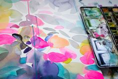 Helen Wells artist, work in progress Wet watercolour paint