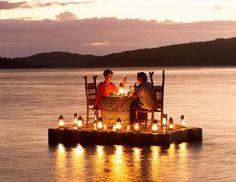 Turtle Island Resort, Fiji: A made-to-order, three-course dinner is rowed to a private pontoon in the South Pacific and set up for the couple by candlelight. The couple is left with only a walkie-talkie to arrange pick-up for the utmost privacy. Cost included in the nightly rate, from about $2,500 per person, per night. (Courtesy Turtle Island Resort)