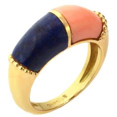1stdibs | CARTIER Coral Lapis Lazuli Yellow Gold Ring