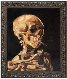 Overstock Art Skull of a Skeleton with Burning Cigarette by Vincent Van Gogh (Canvas)