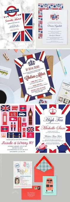 How to Throw a London Themed Bridal Shower London Union Jack British Royal Wedding Themed Bridal Shower Invitations<br> London Theme Parties, British Themed Parties, Royal Tea Parties, British Party, London Party, British Wedding, Royal Theme Party, Royal Wedding Themes, Tea Party Theme