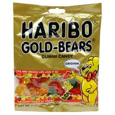 Haribo offer the best  Haribo Gummi Candy, Original Gold-Bears, 5-Ounce Bags (Pack of 12). This awesome product currently in stocks, you can get this Grocery now for $17.04 $14.22. New Haribo Candy, Haribo Gummy Bears, Best Gummy Bears, Haribo Gold Bears, Gourmet Recipes, Snack Recipes, Snacks, All Candy, Movie Candy