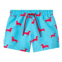 Sky blue and pink Dachshund print kid's drawstring swim shorts. Available in men's sizes too, each collection from Galago Joe is dedicated to one animal, with of all profits being donated to associated charities. Kids Swimwear, Swim Shorts, Navy And White, Dachshund, Sky, Pink, Blue, Collection, Fashion