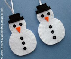 Bugs and Fishes by Lupin: How To: Felt Snowman Ornament