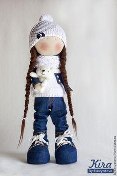 Куколка Kira с медвежонком - белый,кукла ручной работы,кукла,кукла в подарок