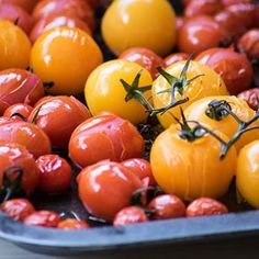 Tomatoes always bring a happy colourful note to any presentation. Do prick them before roasting or frying to prevent unwanted explosions. Oven Roasted Cherry Tomatoes, Explosions, Allrecipes, Fries, Side Dishes, Vegan Recipes, Vegetables, Presentation, Food