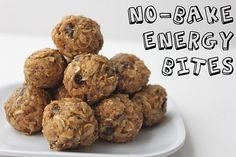 No-Bake Energy Bites   (makes 18-20 bites)    1 cup oatmeal  1/2 cup peanut butter (or other nut butter)  1/3 cup honey  1 cup coconut flakes  1/2 cup ground flaxseed  1/2 cup mini chocolate chips  1 tsp vanilla      Mix everything above in a medium bowl until thoroughly incorporated. Let chill in the refrigerator for half an hour. Once chilled, roll into balls.     Try dried cranberries, chopped nuts, chia seeds, dark chocolate, protein powder...