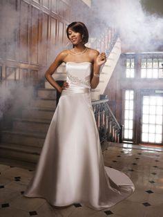 Satin Sweetheart Heavily Encrusted Jeweled Motif Bodice A-line Wedding Dress