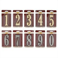 DeSign-it Numbers Finish: Satin Brass, Number: 4 by Whitehall. $9.49. For use with Design-it Plaques. May be mounted directly on house.. Made in the USA. 12804 Finish: Satin Brass, Number: 4 Features: -Customized orders are not returnable. Dimensions: -Dimensions: 4''W x .44''D.