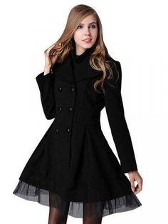 Large Lapel Hem Mesh Double Breasted Coat