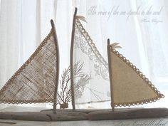 "Set of Three 6"" 8"" 10"" Driftwood Sailboat Art Beach Decor with Vintage Lace Burlap Canvas Sails Coastal Beach House Lake House Wedding"