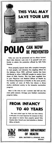 Vintage Polio Vaccine Notice