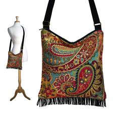 Bohemian Purse Gypsy Fringe Bag Slouch Hobo Bag Hippie Purse Shoulder Bag Zipper - Nadya Paisley Tapestry. $54.99, via Etsy.
