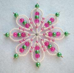 Snowflake beaded pink white green