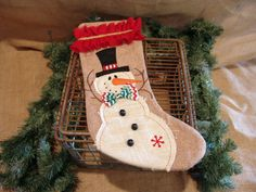 Burlap Christmas Stocking,Snowman,rustic stocking,christmas decoration,holiday home decor,gift,mantle,photo prop,ruffle,vintage