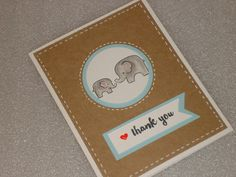Baby Elephant Thank You Card Set Handmade by LadyJPaperGarden