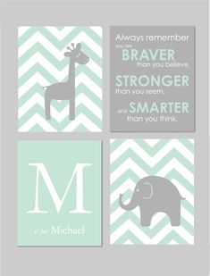 "Mint and Grey Nursery Elephant Nursery Winnie the Pooh Quote Always Remember You are Braver Elephant Giraffe Nursery Set of four 8""x10""s by karimachal on Etsy https://www.etsy.com/listing/221934289/mint-and-grey-nursery-elephant-nursery"